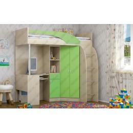 """Детская   кровать-чердак """"Беби"""" зелёный"""