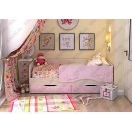 Детская кровать  Дельфин-2 1,6 розовый