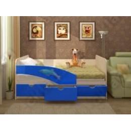 Детская кровать  Дельфин 1,6 синий