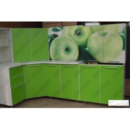 Кухня Яблоко/зеленая угловая 3,7 м (2,45*1,25 м)