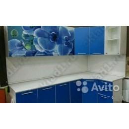 Кухня Орхидея/синяя угловая 3,7 м (2,45*1,25 м)