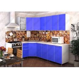 Кухня Радуга Синяя угловая 3,7 м (2,45*1,25 м)