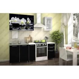 Кухня Орхидея белая/черное дерево 1,5 м