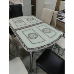 Стол стеклянный раздвижной Греческий светлый