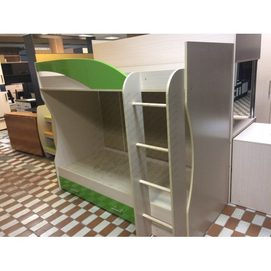 Детская кровать 2-х ярусная Беби-2 зелёная
